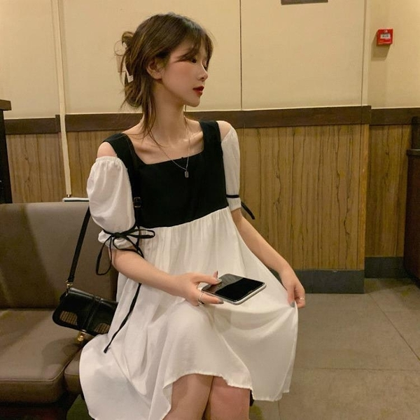 裙子 洋裝新款夏超仙顯瘦流行炸街泡泡袖高檔性感夜店裙子