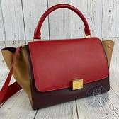 BRAND楓月 CELINE 酒紅色 焦糖色 紅色 皮革 撞色 拚色 金釦 鞦韆包 手提包 側背包 斜背包