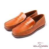 CUMAR男鞋 嚴選牛皮樂福鞋-棕
