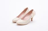MICHELLE PARK 優雅細緻立體珍珠花紗中低跟婚鞋伴娘鞋-金