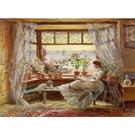 【台製拼圖】名畫系列 窗前閱讀的女孩與狗 (1000片) 01-025