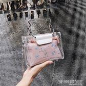 夏天仙女包包新款蕾絲小清新透明果凍包可愛手提鍊條小包  时尚教主