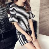 2018夏季新款韓版短袖長款休閑t恤 女黑白經典條紋大碼顯瘦連衣裙
