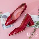 現貨 喜宴穿搭 紅色跟鞋 搖滾女孩 粗跟高跟鞋 好走不磨腳 21.5-28 EPRIS艾佩絲-時尚紅
