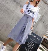 EASON SHOP(GU5801)斜肩露肩吊帶短袖t恤藍白條紋半身裙套裝女套裝綁帶腰帶傘裙長裙英文字母韓版寬鬆