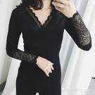 蕾絲打底衫 秋冬新款加厚保暖蕾絲打底衫女長袖t恤純棉黑色緊身上衣 智慧e家 新品