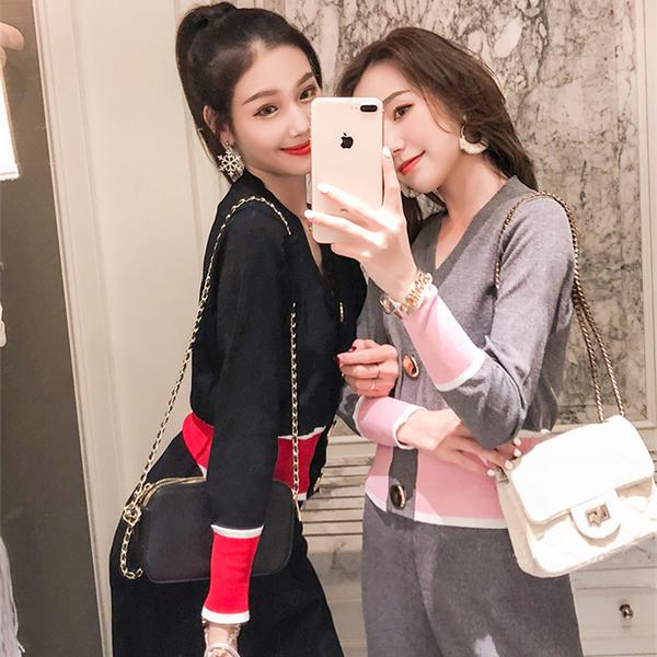 絕版出清 韓系氣質紐扣針織寬口褲撞色套裝長袖褲裝