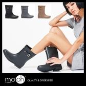 雨鞋 韓國素面柔軟搭扣顯瘦中筒雨靴 mo.oh (韓國鞋款)