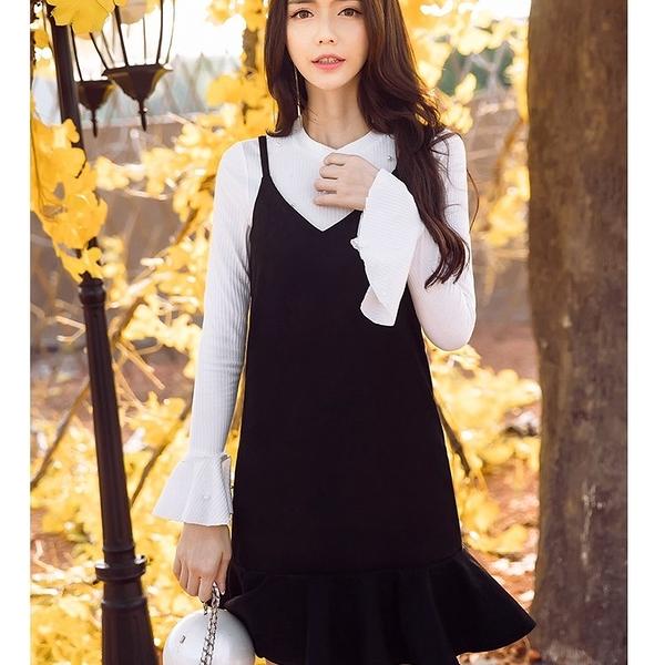 98630-QF時尚俏麗細肩帶荷葉裙襬背心裙~美之札