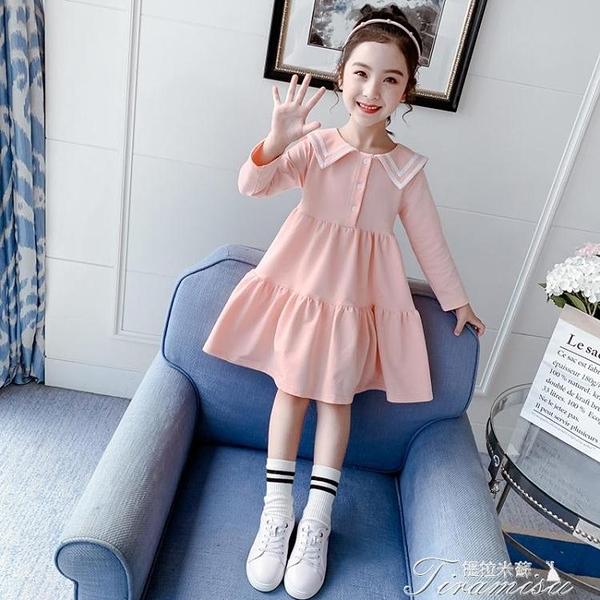 女童洋裝 女童長袖連衣裙春秋裝新款洋氣中童學生裙子學院風兒童公主裙 快速出貨