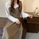 VK精品服飾 韓系時尚大碼氣質休閒撞色拼接修身長袖洋裝