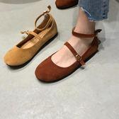 減齡百搭純色絨面圓頭套腳淺口系扣娃娃鞋平底單鞋