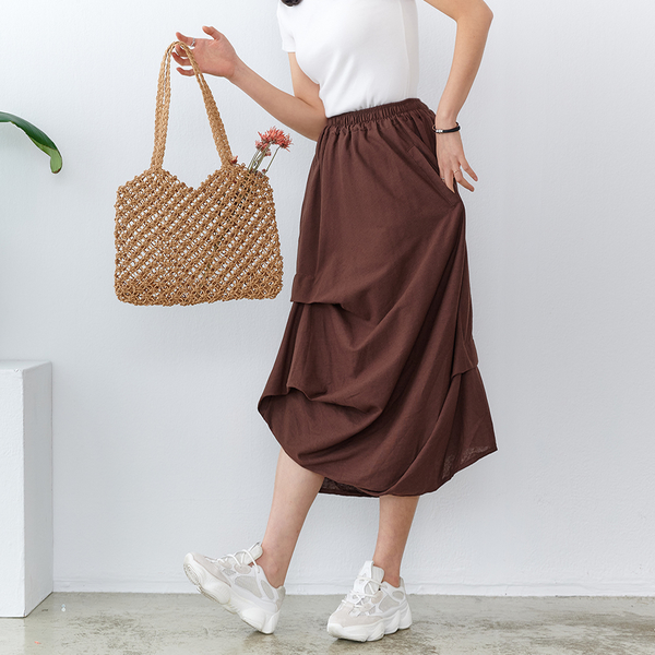 【慢。生活】不規則層次抓皺垂墜棉料長裙 FREE咖啡色