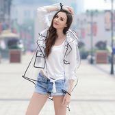 雨具 雨衣 透明成人雨衣女LOGO歐美時尚大碼拼接撞色戶外旅游長款雨披 玩趣3C