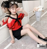 女童套裝新款夏裝超洋氣中大童時髦網紅夏季兒童小女孩兩件套 【快速出貨】