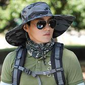 遮陽帽男 帽子男戶外釣魚帽夏天遮臉太陽帽涼帽漁夫帽透氣遮陽帽男士防曬帽 芭蕾朵朵