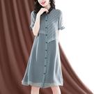 仿真絲洋裝/連衣裙女2021年夏新款短袖輕熟減齡顯瘦氣質減齡雪紡襯衫裙 快速出貨