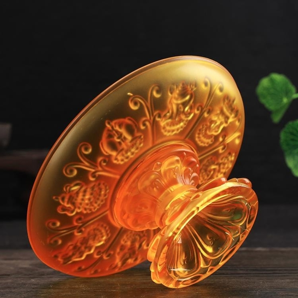 八吉祥供佛蓮花水果盤果碟琉璃供果盤佛前佛教用品佛供盤佛具貢品