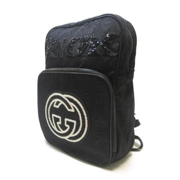 GUCCI 古馳 刺繡雙G圖騰造型尼龍休閒後背包 Interlocking G 536724【BRAND OFF】
