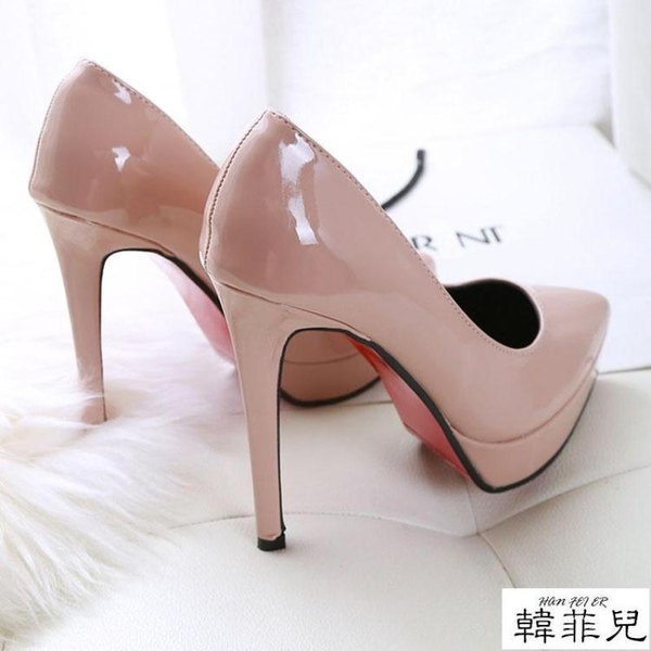 婚鞋 超高跟12cm女鞋子歐美秋冬新款尖頭防水臺細跟單鞋紅色婚鞋 韓菲兒