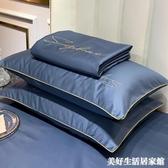 枕頭套 60s貢緞全棉枕套純棉枕頭套雙人單人學生宿舍枕芯套48x74cm一對裝 美好居家生活館