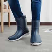 雨鞋男膠鞋中筒防滑防水雨靴水鞋套鞋釣魚鞋洗車工作鞋男膠鞋 【優樂美】