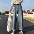 秋裝女新款女裝寬鬆高腰直筒褲學生休閒闊腿褲復古牛仔長褲子 草莓妞妞