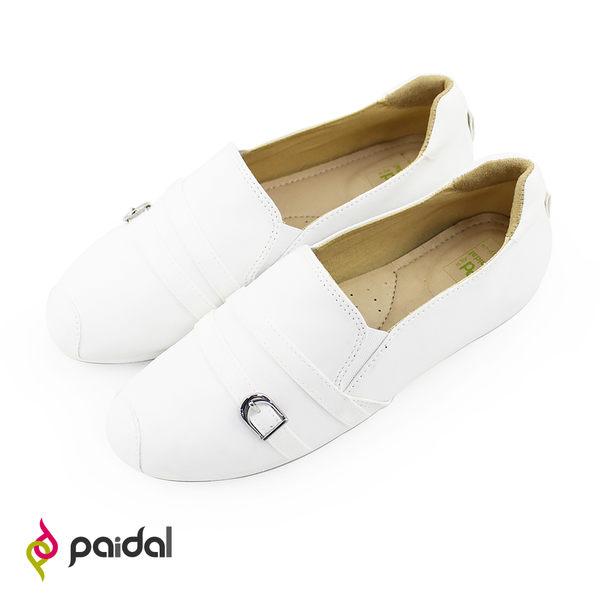 Paidal 繞帶小白鞋平底樂福鞋懶人鞋