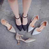 貓跟鞋女 新款春正韓潮百搭一字扣尖頭單鞋5cm細跟銀色高跟鞋