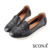 SCONA 蘇格南 全真皮 輕量舒適刺繡深口鞋 黑色 31038-1