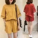 運動套裝 兩件套套裝女夏季學生短袖T恤短褲休閒運動套裝-Ballet朵朵