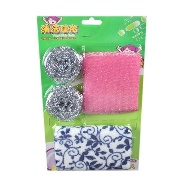 [拉拉百貨]洗碗三件組 洗刷超值3件套 鋼絲球 海綿 抹布 廚房三寶套組(隨機出貨)