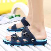 涼鞋男士拖鞋男夏季一字拖鞋男涼拖鞋浴室內外沙灘鞋防滑洞洞鞋潮