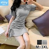 【V2958】shiny藍格子-活力美風.純色可調節側邊抽繩壓褶短袖連身裙