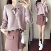 大碼秋冬季新款韓版時尚針織毛衣兩件套裝女小香風毛呢大碼a字短裙子 Mt8406『Pink領袖衣社』