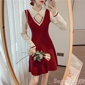 襯衫洋裝 襯衫領假兩件紅色針織連身裙女秋冬內搭長袖打底裙洋氣拼接毛衣裙 suger