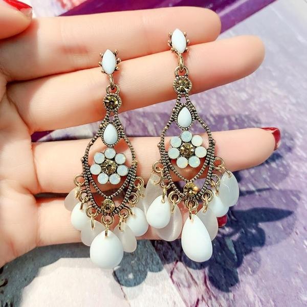 s925銀針歐美氣質個性民族風貓眼幾何耳環高級復古新款時尚耳飾女