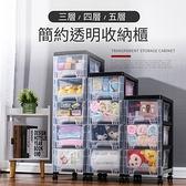 【IDEA】日式簡約透明三層抽屜收納櫃(置物櫃)