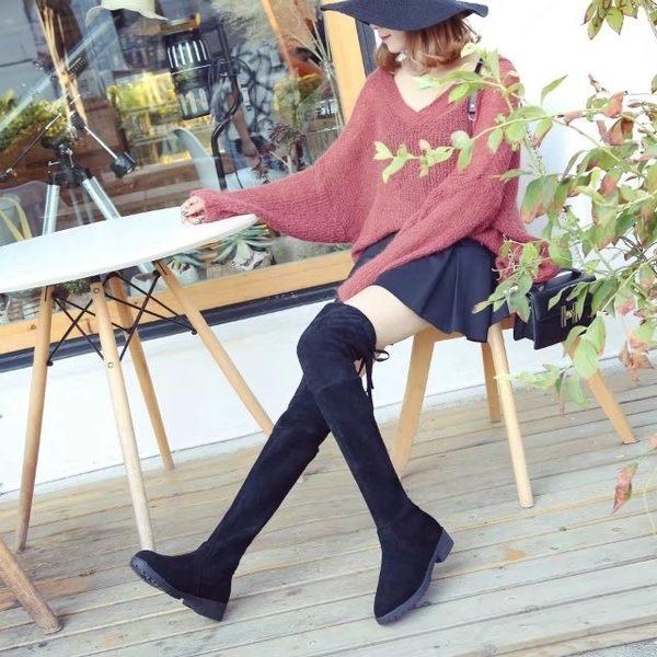 秋冬新款加絨過膝靴女彈力高筒靴顯瘦低跟長靴騎士靴女靴子潮   LannaS