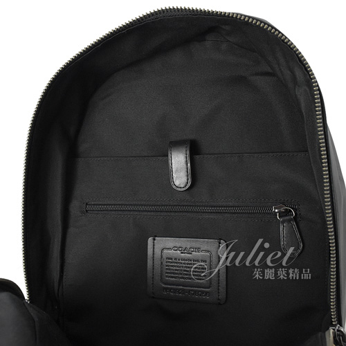 茱麗葉精品【全新現貨】COACH 78756 滿版LOGO印花拼接旅用後背包.咖/黑 (專櫃款)