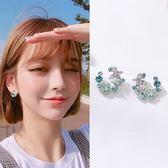 【NiNi Me】韓系耳環 氣質甜美925銀針花朵水鑽耳環 耳環 N0282
