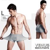 潮流男用VENUS 平角內褲 無痕冰絲 透明超薄一片式 四角褲 灰 L