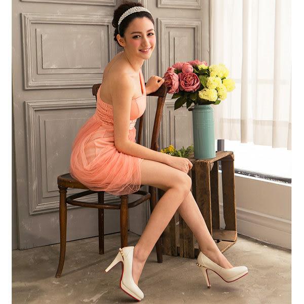 Ann'S Bridal後鑲珍珠訂製婚鞋 白