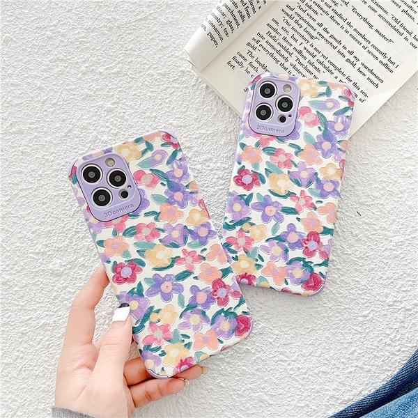 紫色浪漫碎花 適用 iPhone12Pro 11 Max Mini Xr X Xs 7 8 plus 蘋果手機殼
