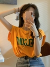 無袖T恤 女2021年新款夏季韓版圓領字母印花桔色無袖t恤女百搭寬松上衣ins潮【快速出貨】