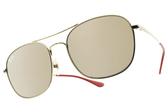 RayBan太陽眼鏡 RB3613D 92005A (金-淺金水銀褐鏡片) 新春喜氣經典雙槓款 # 金橘眼鏡