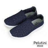 【Pelutini】donna時尚彈性編織休閒運動鞋  藍底白點(8455W-NAWH)
