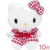 〔小禮堂〕Hello Kitty 絨毛玩偶娃娃《M.紅白.格紋洋裝》擺飾.玩具 0840805-13219