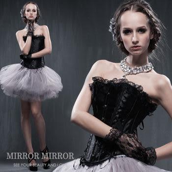馬甲 交叉緞帶黑宮庭式塑身馬甲-束身、表演服_蜜桃洋房