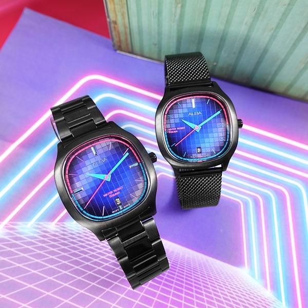 ALBA / VJ42-X308SD.VJ32-X312SD / 東京霓虹 方型跳色潮流 日期 不鏽鋼手錶 情人對錶 鍍黑 37mm+34mm